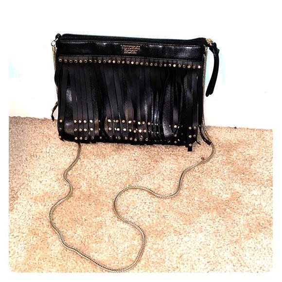 Victoria's Secret Handbags - black leather fringe victoria secret purse